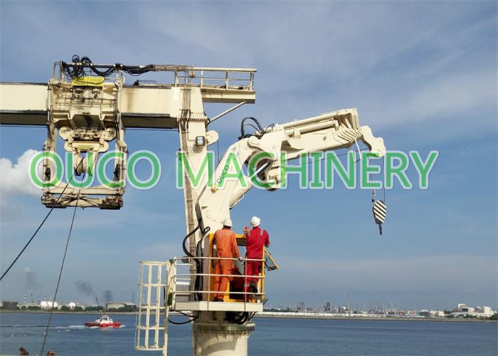 Telescopic Knuckle Boom Crane , 22m Hydraulic Marine Crane High Efficiency