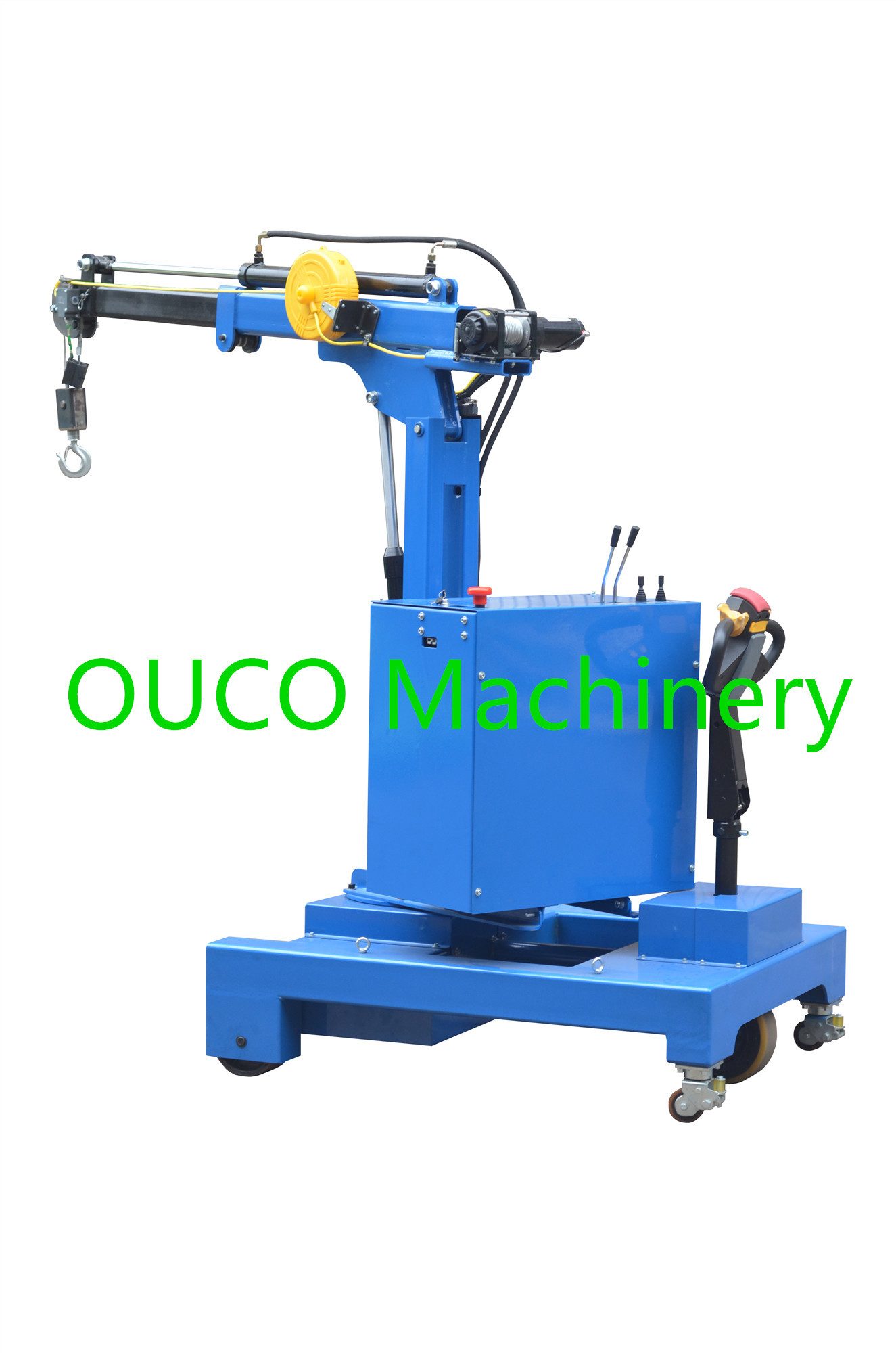 Blue Color Portable Lifting Equipment Crane With Telescopic Boom For Industry