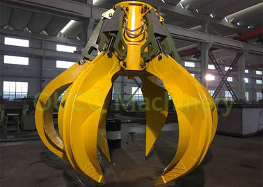 High Efficiency Orange Peel Grab , Yellow Scrap Metal Grapple Low Noise